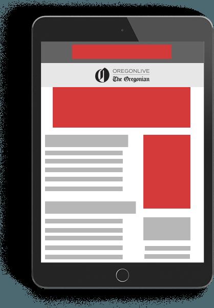 Tablet graphic. Digital marketing services Oregonian Media Group.