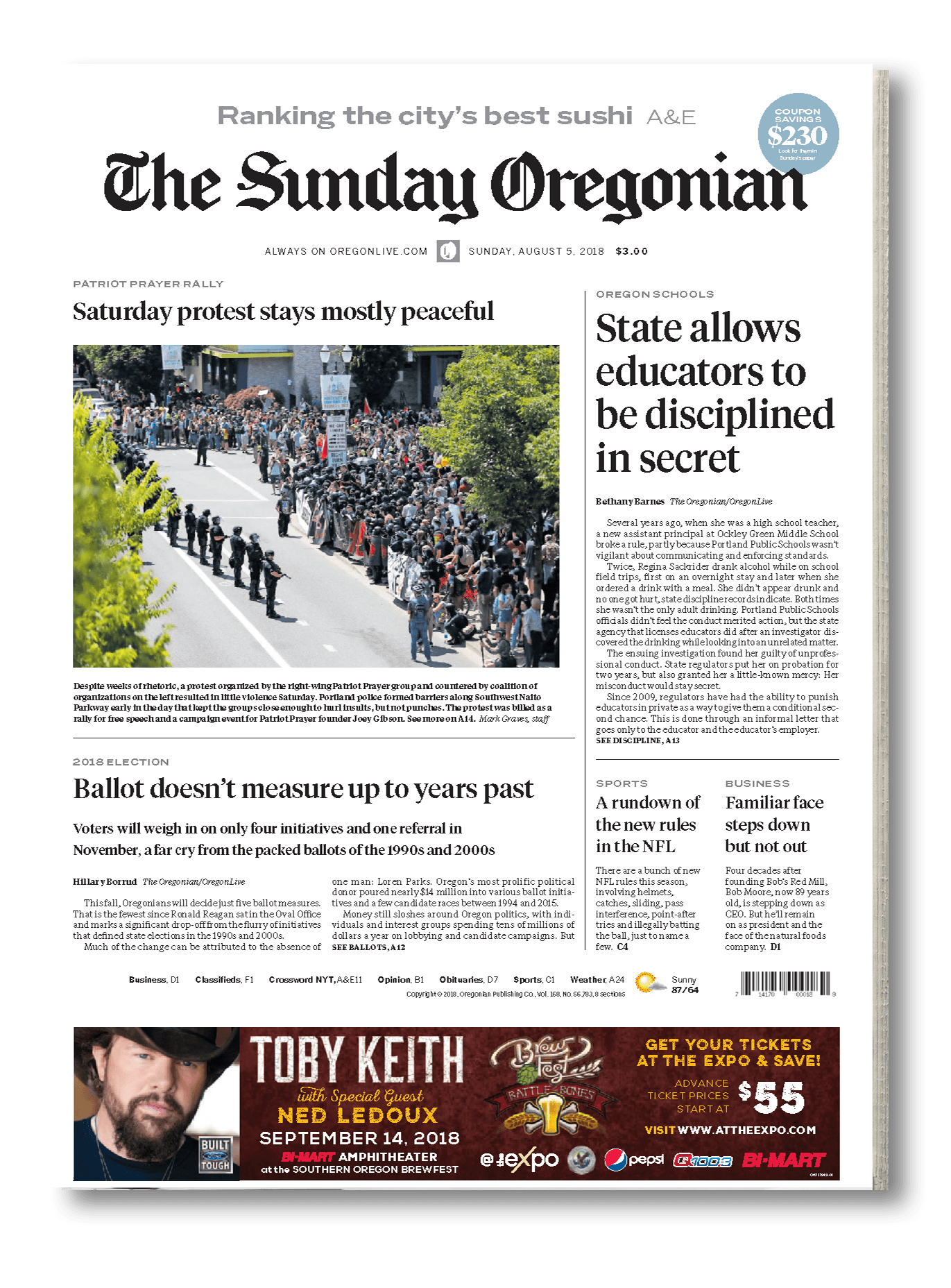 The Oregonian Newspaper Cover